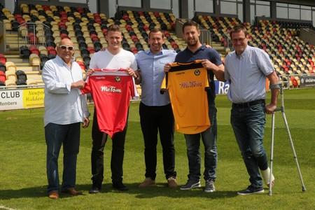 WELCOME: Chairman Les Scadding, Yan Klukowski, manager Justin Edinburgh, Darren Jones and director Howard Greenhaf at Rodney Parade yesterday