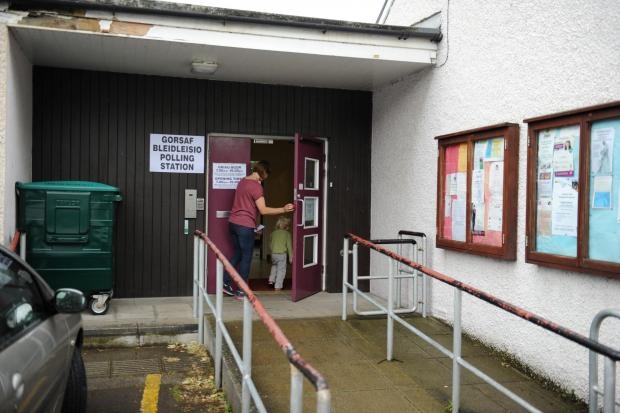 A Polling Station was held at  Caerleon Town Hall for the European Elections.  Pictured is a voter entering the Polling Station. (6458257)