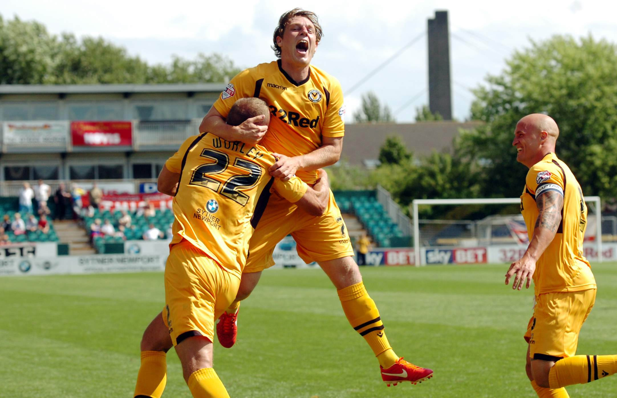 SWA ST 03/08/2013Newport County v Accrington Stanley in league 2 at Rodney Parade - Harry Worley celebrates opening the scoring with Adam Chapman and David Pipe (3112641)