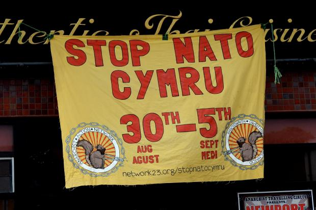 South Wales Argus: Shop window in Newport's Commercial Street where Anarchist Action Network are holding a week of events, ahead of NATO summit