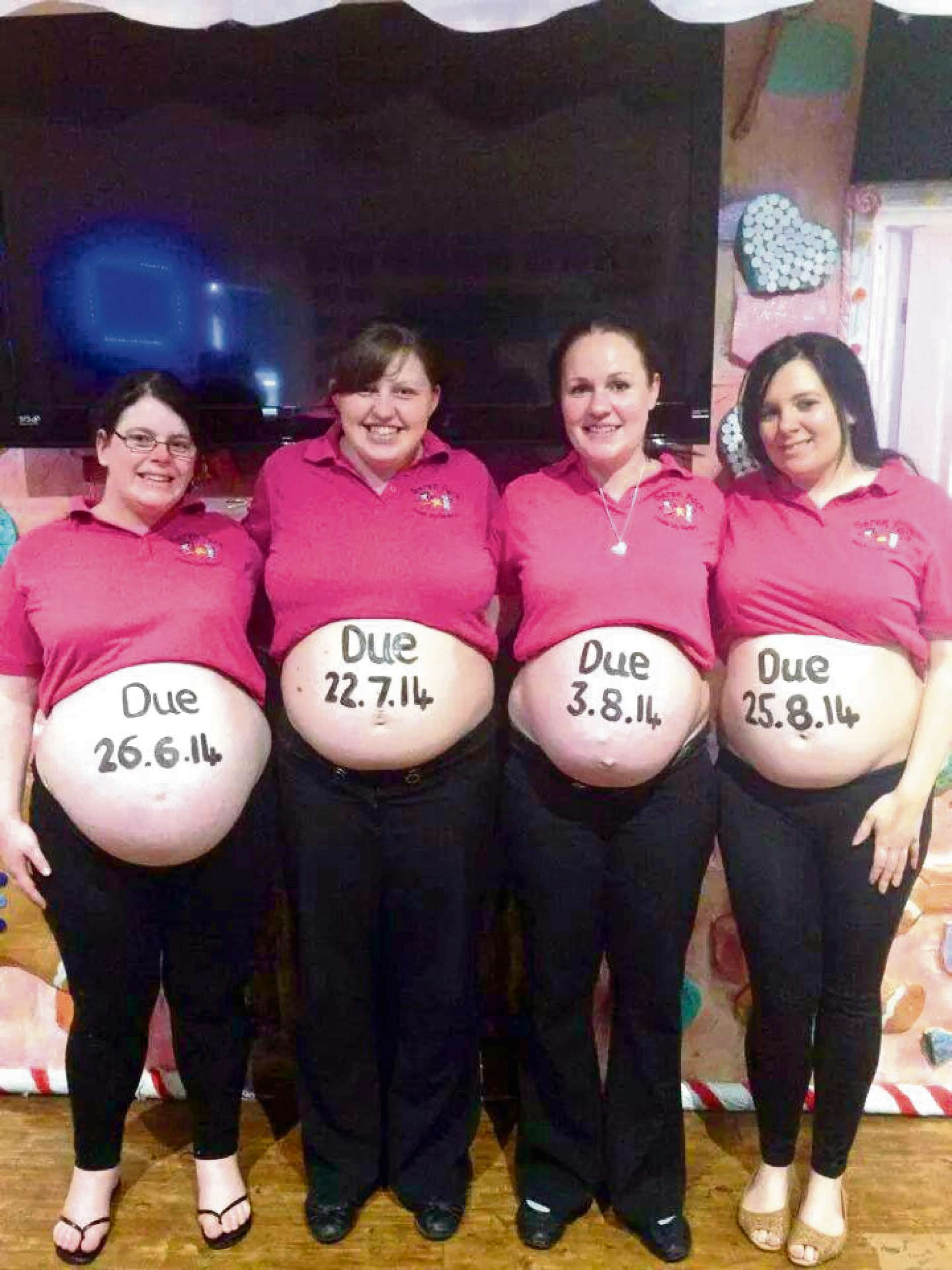 Four members of staff from Seren Fach Day Nursery in Ponthir are all expecting. Pictured (L-R) is Sadie Cook, 31, from Cwmbran; Kirsty Harris, 23, from Caerleon; Gemma Lewis, 29, from Newbridge; and Jessica Davies, 25, from Caerleon. (6641977)
