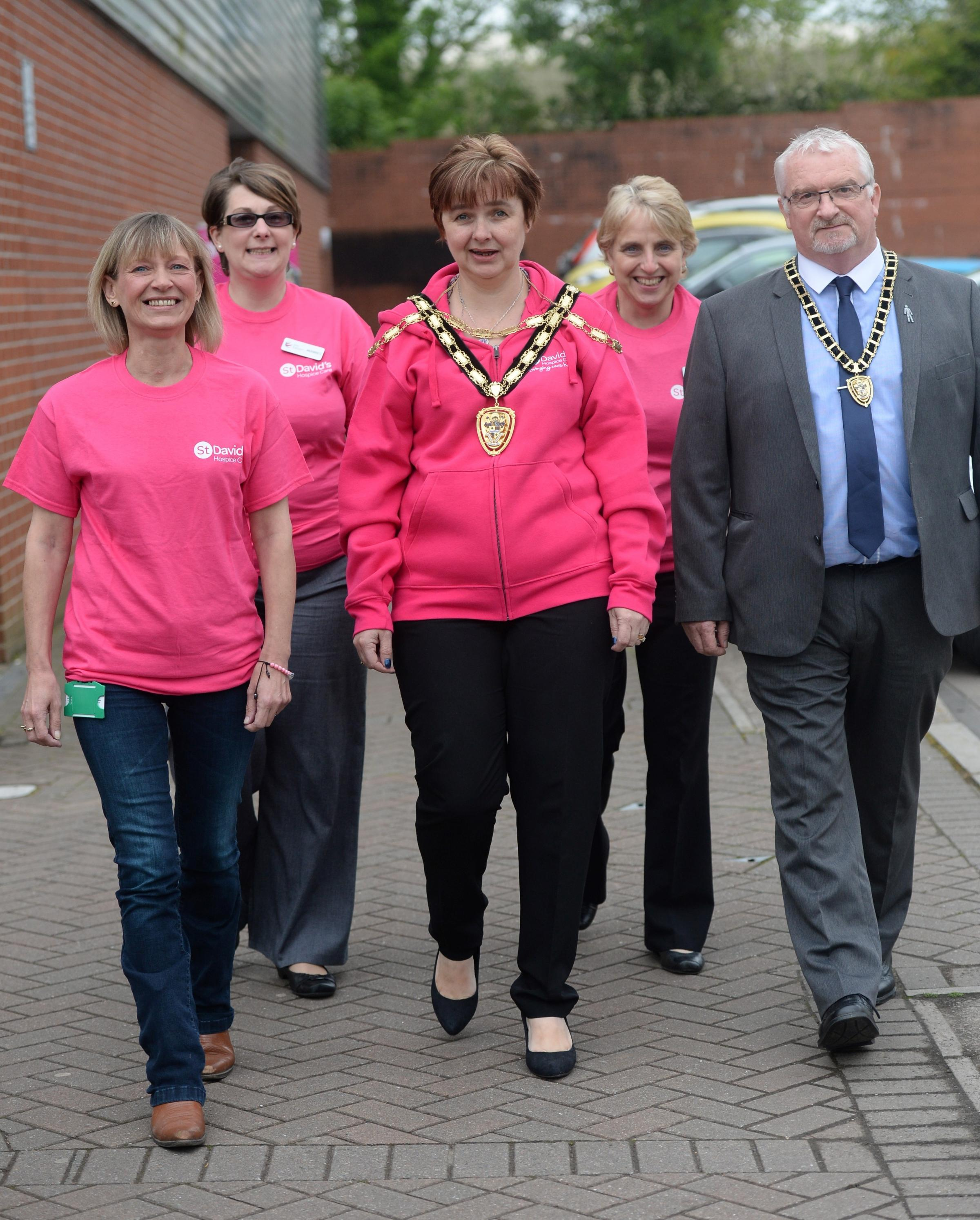 St Davids Midnight walk through Cwmbran. Pictured are (left to right) Rachel Wills from Western Power Distribution, Angharad Collins from Torfaen Leisure Trust, Cllr Mandy Owen Mayor of Torfaen, Mandy Price from Torfaen Leisure Trust and Richard Owen, con