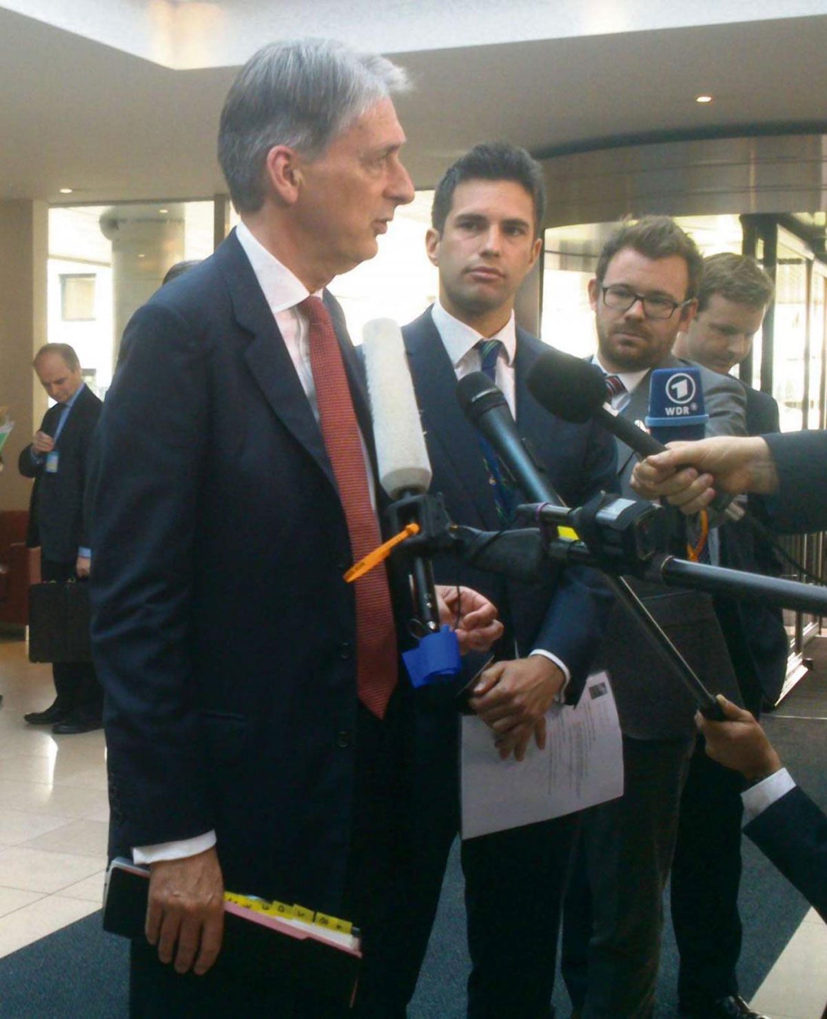 UK defence secretary Philip Hammond at the Nato headquarters in Brussels today