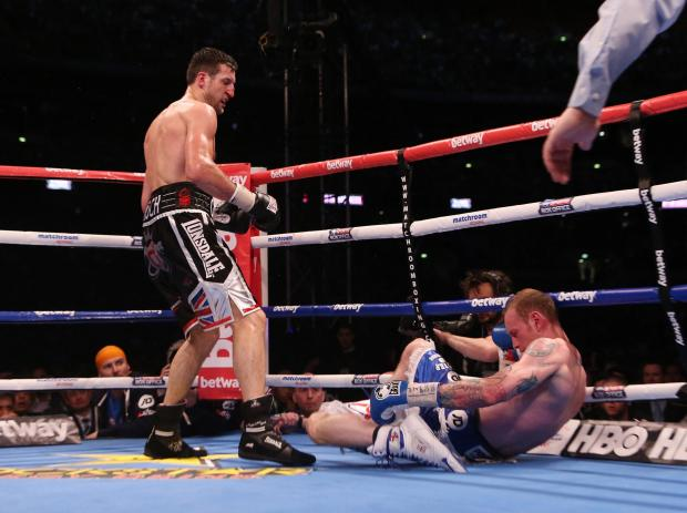 File photo dated 31/05/2014 of Carl Froch knocking down George Groves to win the IBF and WBA World Super Middleweight Title fight at Wembley Stadium, London. PRESS ASSOCIATION Photo. Issue date: Sunday June 1, 2014. Carl Froch says the crushing right-hand