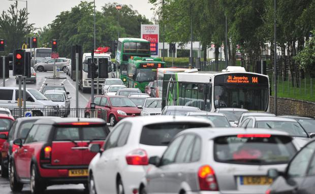 QUEUES: Traffic building up on Cardiff Road in Newport this morning