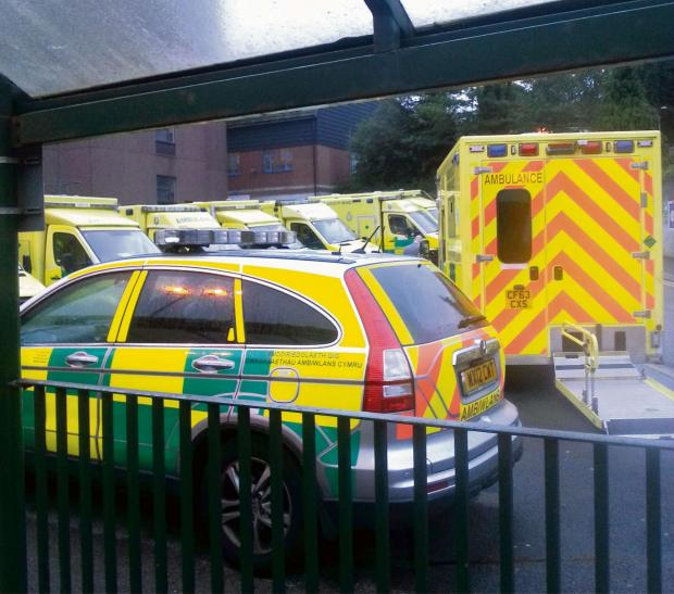 Paramedics getting a bad name for there response times but its not there fault as they have to stay with patients.  9 ambulances and 2 first response cars are at the royal gwent hospital Newport and are unable to leave until the patients have been booked