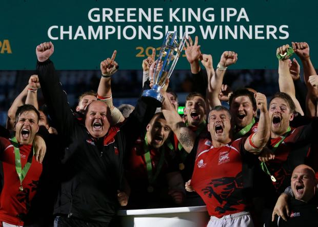 PARTY TIME: London Welsh celebrate their victory in the Greene King IPA Championship Final, Second Leg at the Memorial Stadium, Bristol