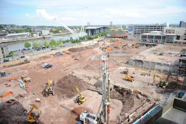 South Wales Argus: Latest pictures from the Friars Walk development taken from Chartist Tower. Pics: Jon Bevan