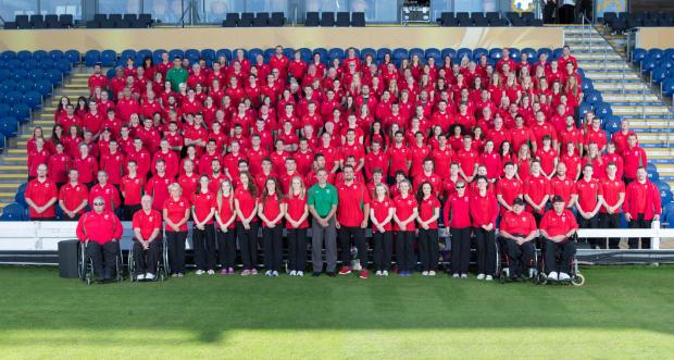 TEAM WALES: The Welsh athletes at their official Glasgow 2014 send-off today