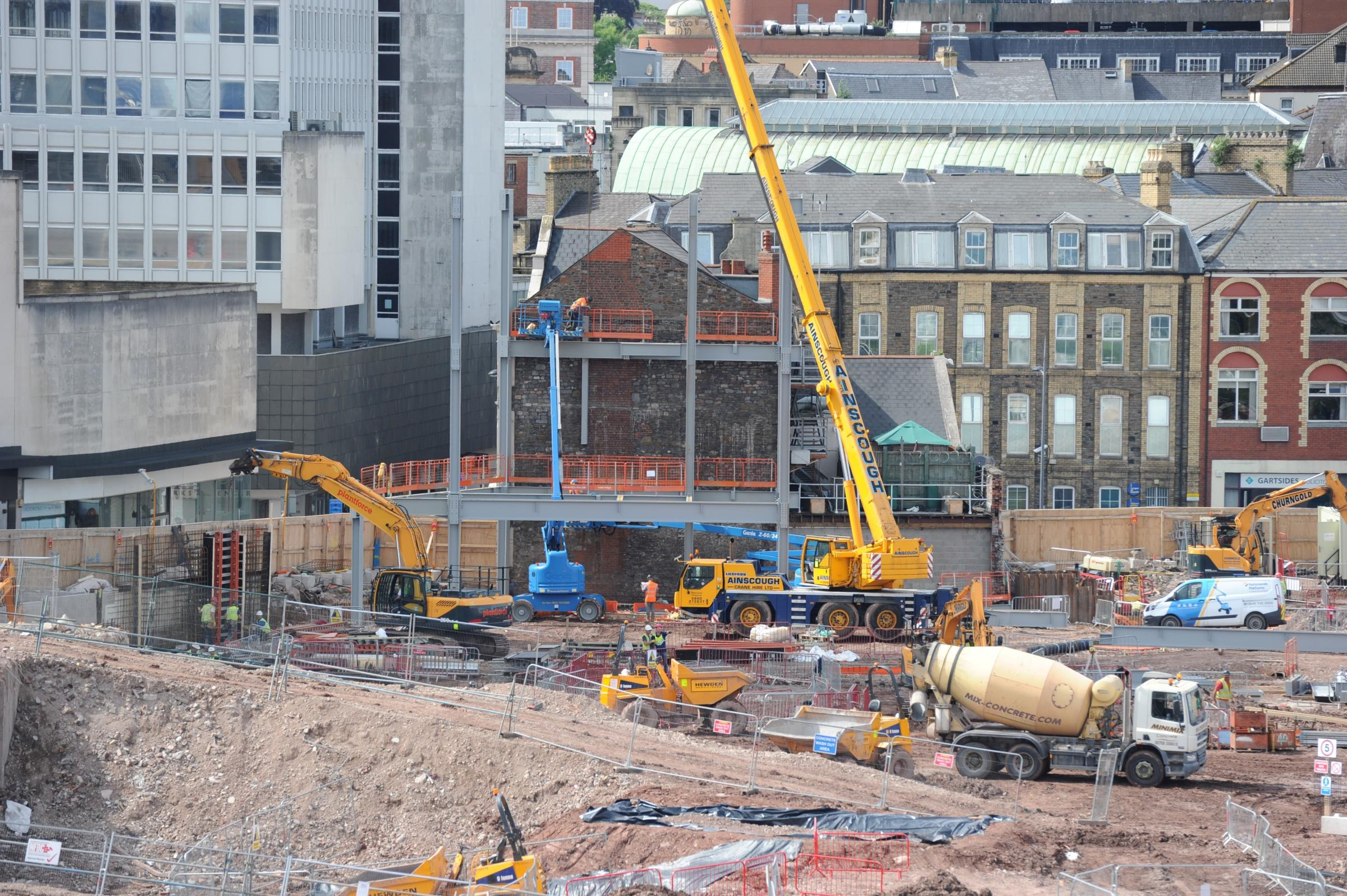 Friars Walk steelwork starts to go up