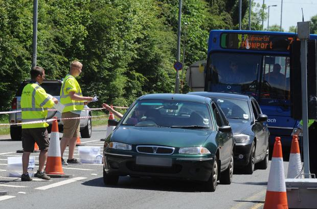 CENSUS: Drivers are stopped in the traffic survey on Chepstow Road in Langstone today