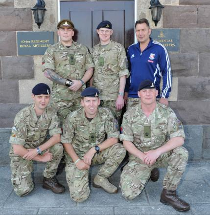 WALKERS: (Back l-r) WO2 Simon Clearly, Major Martin Smith, WO2 Mark Blake (Front l-r) Staff Sgt Matthew Collenette, WO2 Tobi Horn and WO2 Rob Donaldson