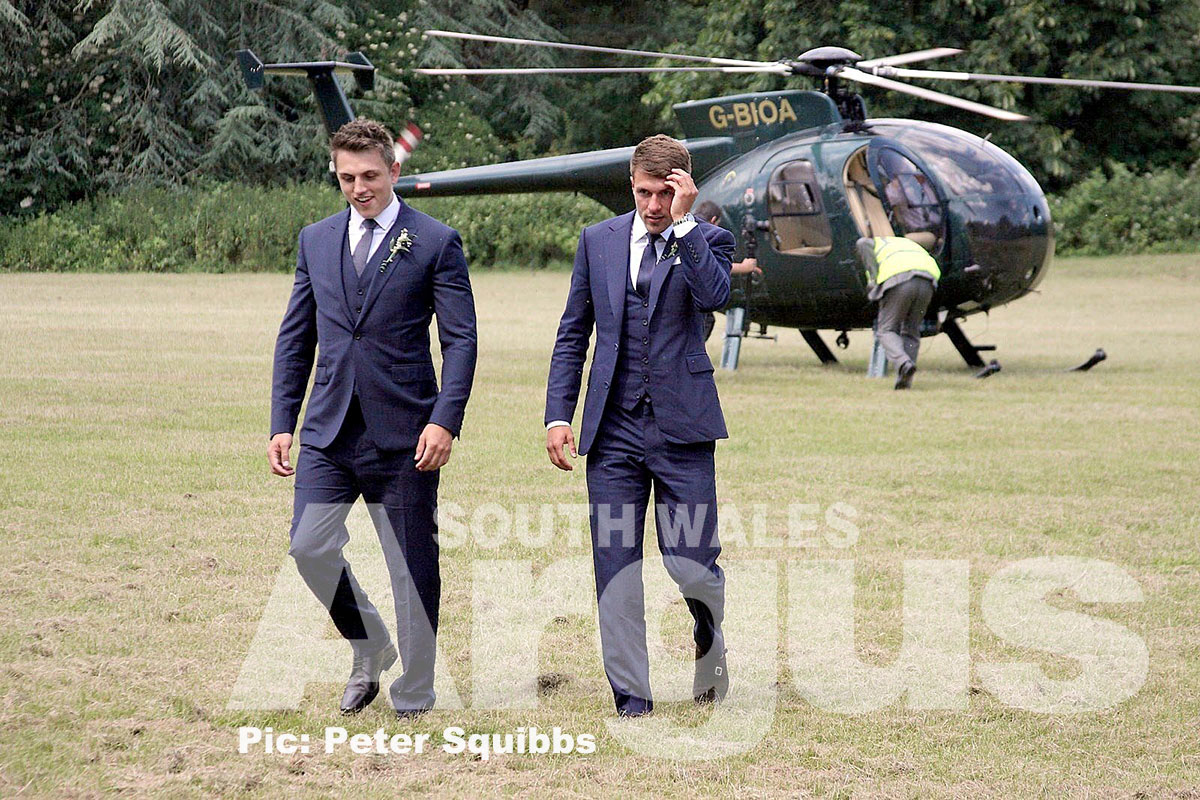 Aaron Ramsey arrives for his wedding at Caldicot Castle. Pic: Peter Squibbs