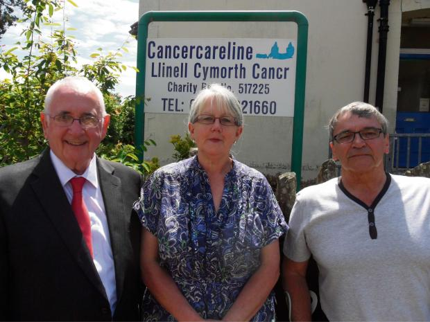 SAVED: Islwyn AM Gwyn Price congratulates Kay Reed and Adrian Read of Blackwood based Cancercareline on the reinstatement of their funding from Aneurin Bevan University Health Board (ABUHB) and Caerphilly County Borough Council (CCBC).