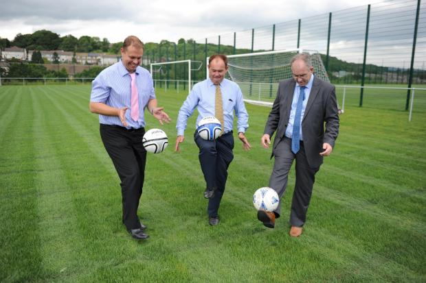South Wales Argus: PARTNERSHIP: Llanwern High School director of business Andy Knight, County chief executive Dave Boddy and Llanwern head teacher Peter Jenkins