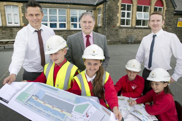 WORK STARTED:  The new school is being built on the site of the old school. Photo: Huw John