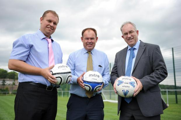 Llanwern High School announced that Newport County Football Club will be using their sports pitches for training.  Pictured at the training ground from left Andy Knight Director of Business, Dave Boddy Chief Executive Newport County and Peter Jenkins Scho