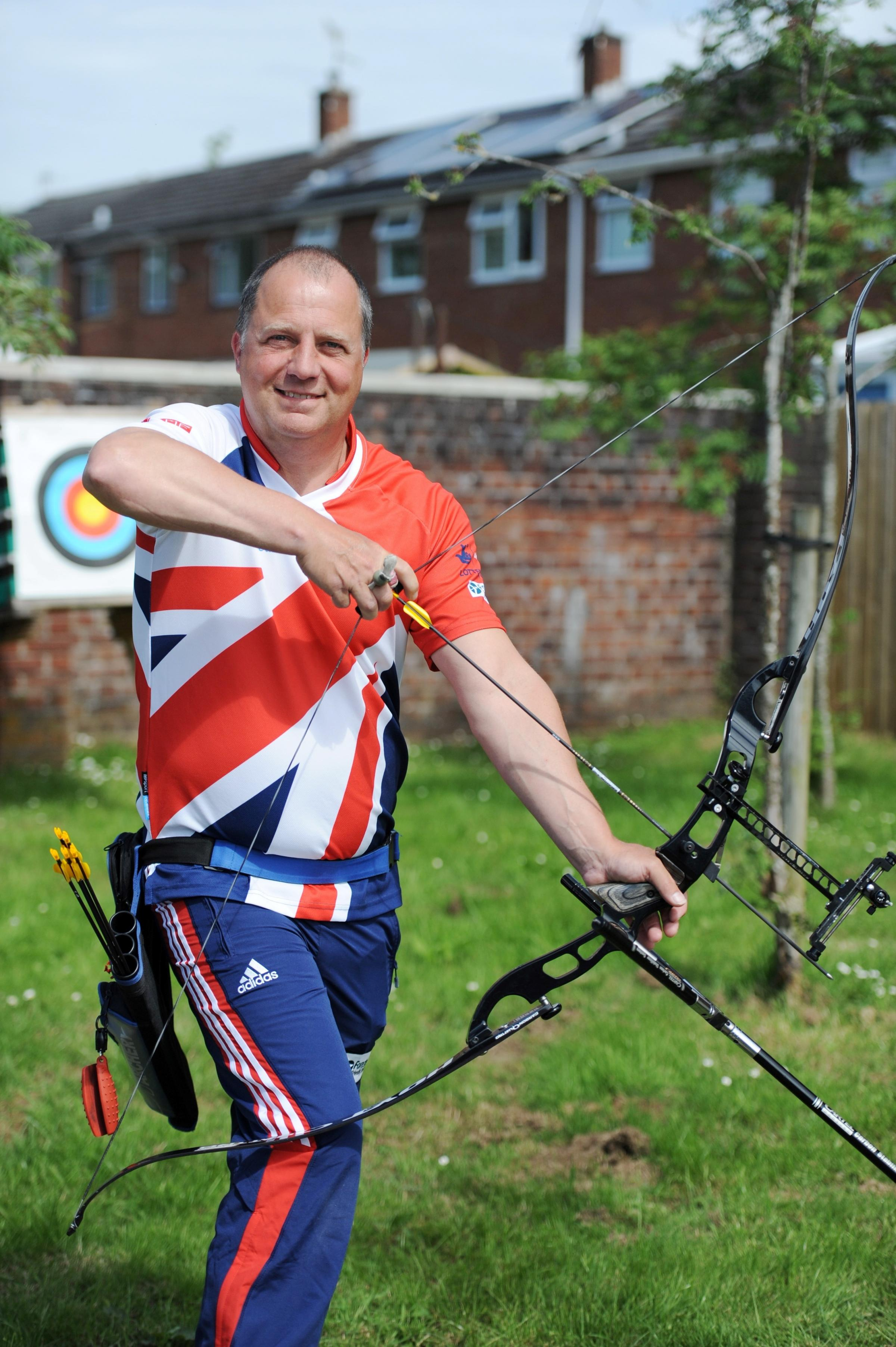 A Cwmbran Archer is representing GB in archery events all over Europe despite suffering with Multiple Sclerosis.  Pictured at home is Dave Phillips with his Hoyt recurve competition bow. (7139627)