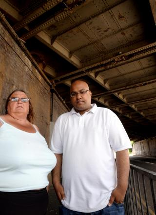 Councillor Majhid Rahman and Angela Lloyd, chairman of the Maindee action committee, at Maindee Bridge, which has a problem with pidgeons leaving a trail of droppings onto the pavement below, which could cause contamination (7226228)
