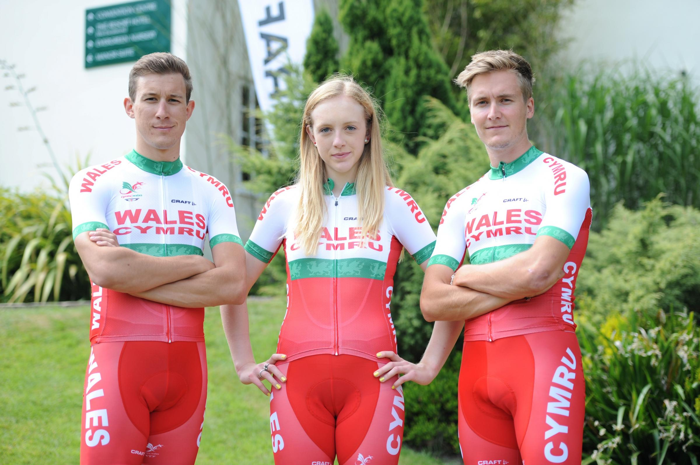 GWENT CYCLISTS: Jon Mould from Newport, Amy Hill from Langstone and Sam Harrison from Risca at yesterday's launch of the Team Wales Commonwealth Games kit.       Pict