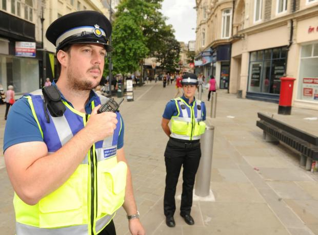 South Wales Argus: CSO Jack Purcell and CSO Perrie Di Ronato patrol Newport city centre (7632013)