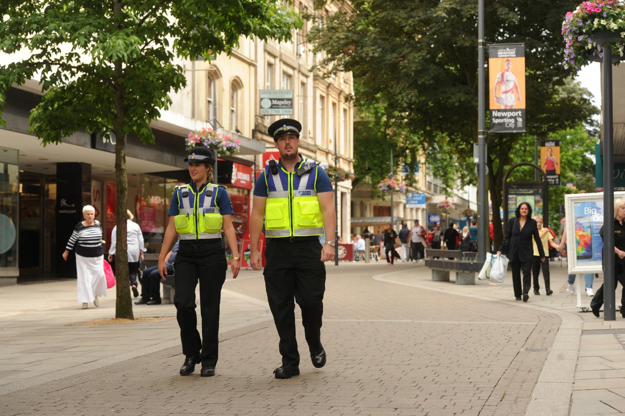 CSO Perrie Di Ronato and CSO Jack Purcell patrol Newport city centre (7631676)