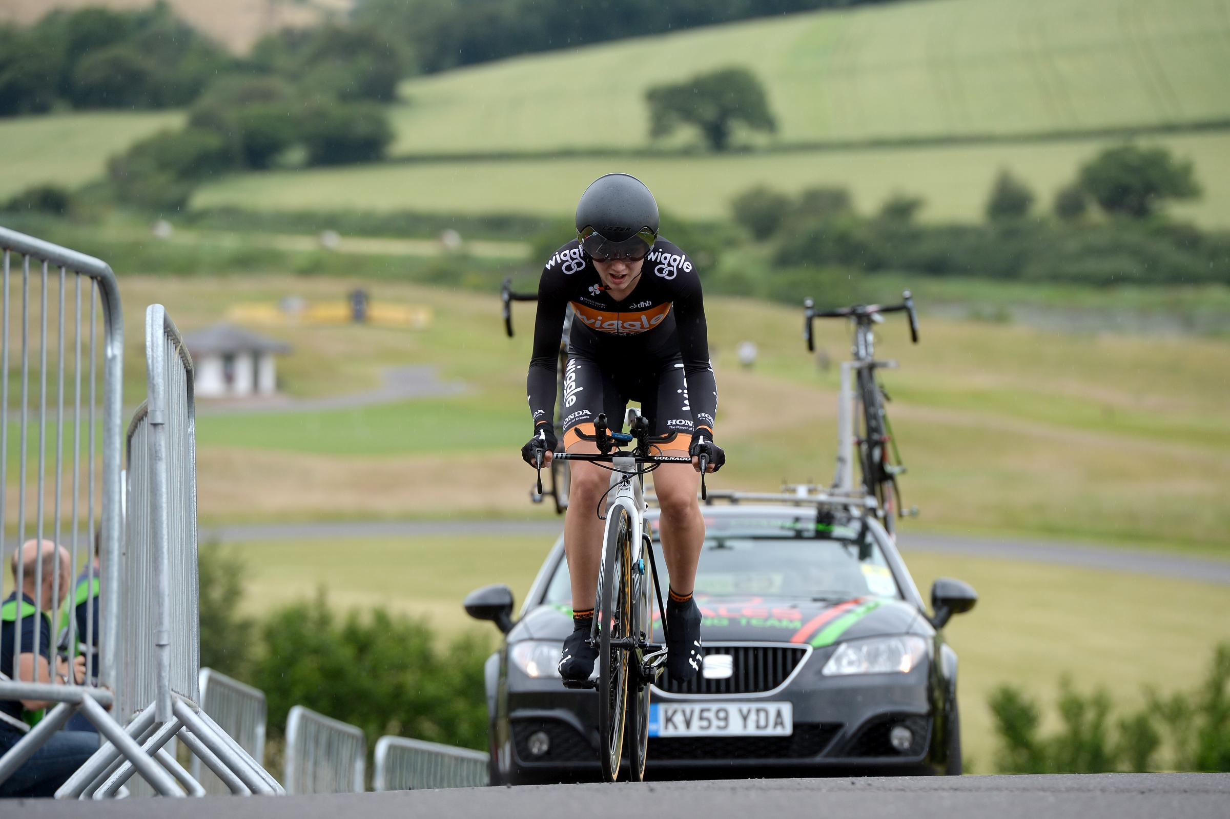 BIG CLIMB: Elinor Barker in action in the National Time Trial at the Celtic Manor on Friday, when she finsihed fourth