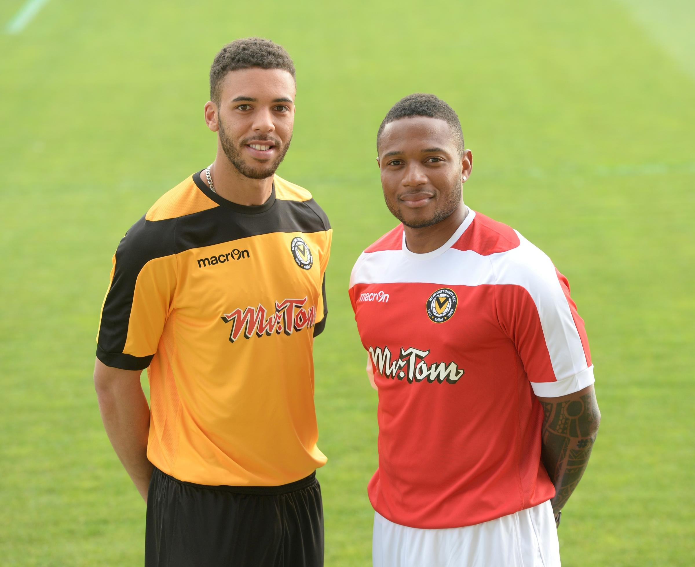 Launch of new Newport County home and away kits. The new home and away kits are modelled by players Christian Jolley and Aaron O'Connor. (5657985)