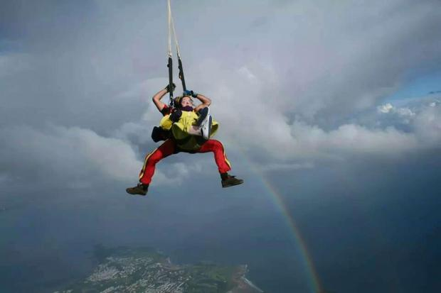 South Wales Argus: Bek Thomas, 19, during the sky dive