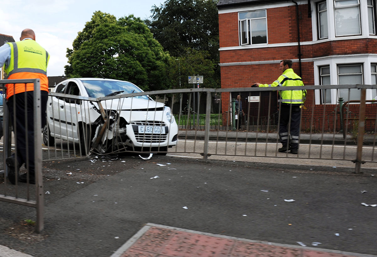 PICTURE: Car crashes into railings outside Royal Gwent