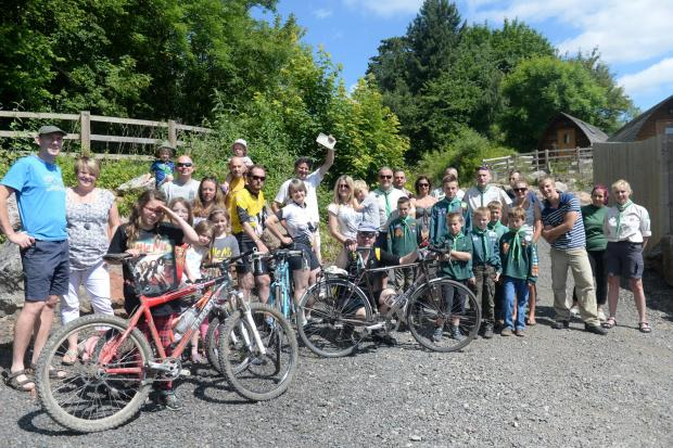 South Wales Argus: Petiion to turn disused Railway line into Cycle path gains support. Pictured are Chepstow locals all behind the proposed cycle path starting at the National Diving and Activity Centre in Tidenham. (7387101)
