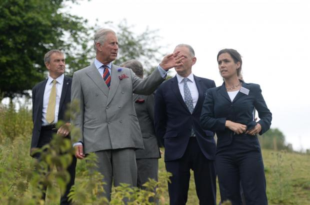 South Wales Argus: HRH The Prince of Wales visits Llwyd Celyn farm near Abergavenny. The Prince is shown around the grounds of the farm by employees of the Landmark Trust. (7844852)