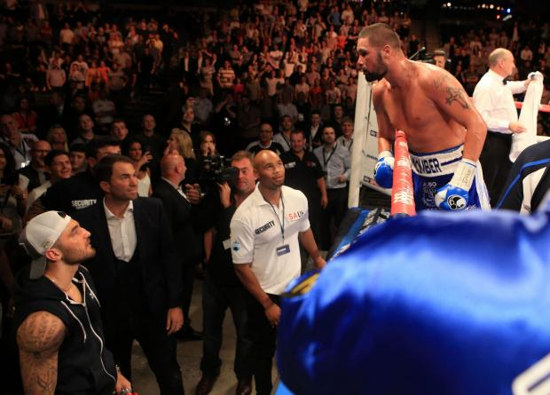 Tony Bellew (right) has words with Nathan Cleverly after his WBO International cruiserweight title fight at the Echo Arena, Liverpool