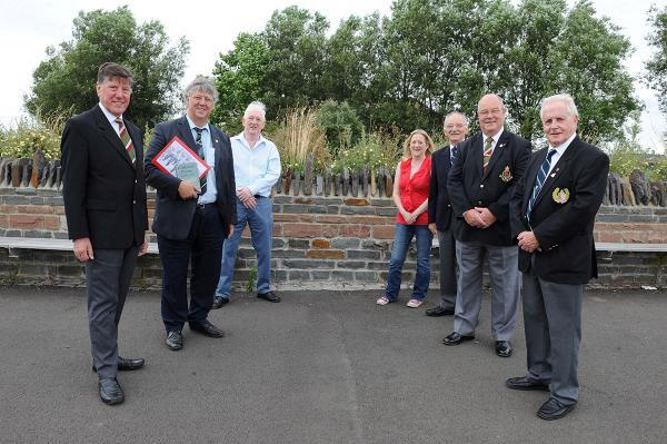 MEMORIAL PLAN: L-R Graham Smith (Royal Welsh Comrades) Charles Ferris, Shaun McGuire, Shelley McGuire, Roy Newman (RWC), Phil Taylor (RWC) and Alan Bowman (RWC)