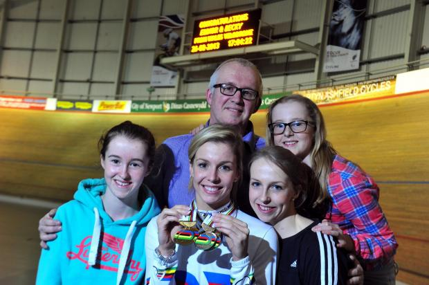 CYCLING FAMILY: Rachel James, bottom right, with dad David and younger sisters Becky, Meg and Ffion