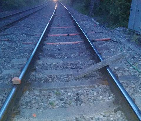 Warning after concrete slabs left on train tracks
