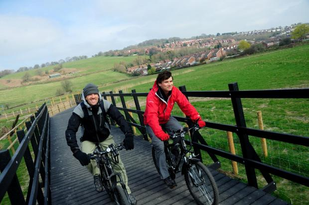 South Wales Argus: Cycling along the new boardwalk on National Route 88 at Caerleon picture by J Bewley/Sustrans ©J Bewley