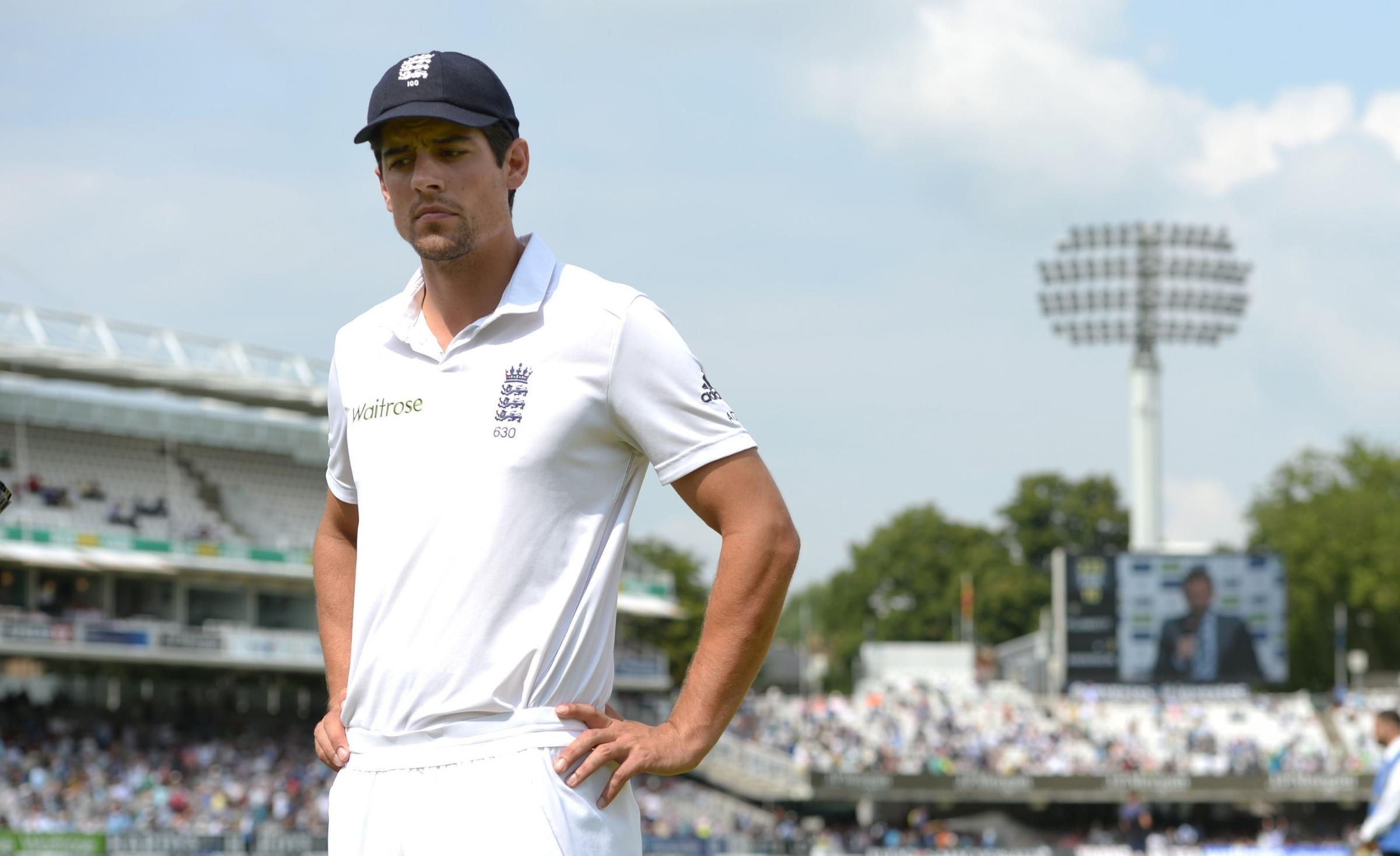 England's Alastair Cook appears dejected after India's victory during day five of the second test at Lord's Cricket Ground, London. PRESS ASSOCIATION Photo. Picture date Monday July 21, 2014. See PA Story CRICKET England. Photo credit should r