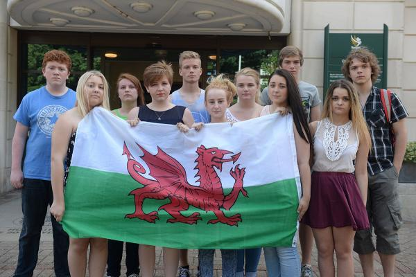 PROTEST: Pupils outside the Civic Centre in Newport today