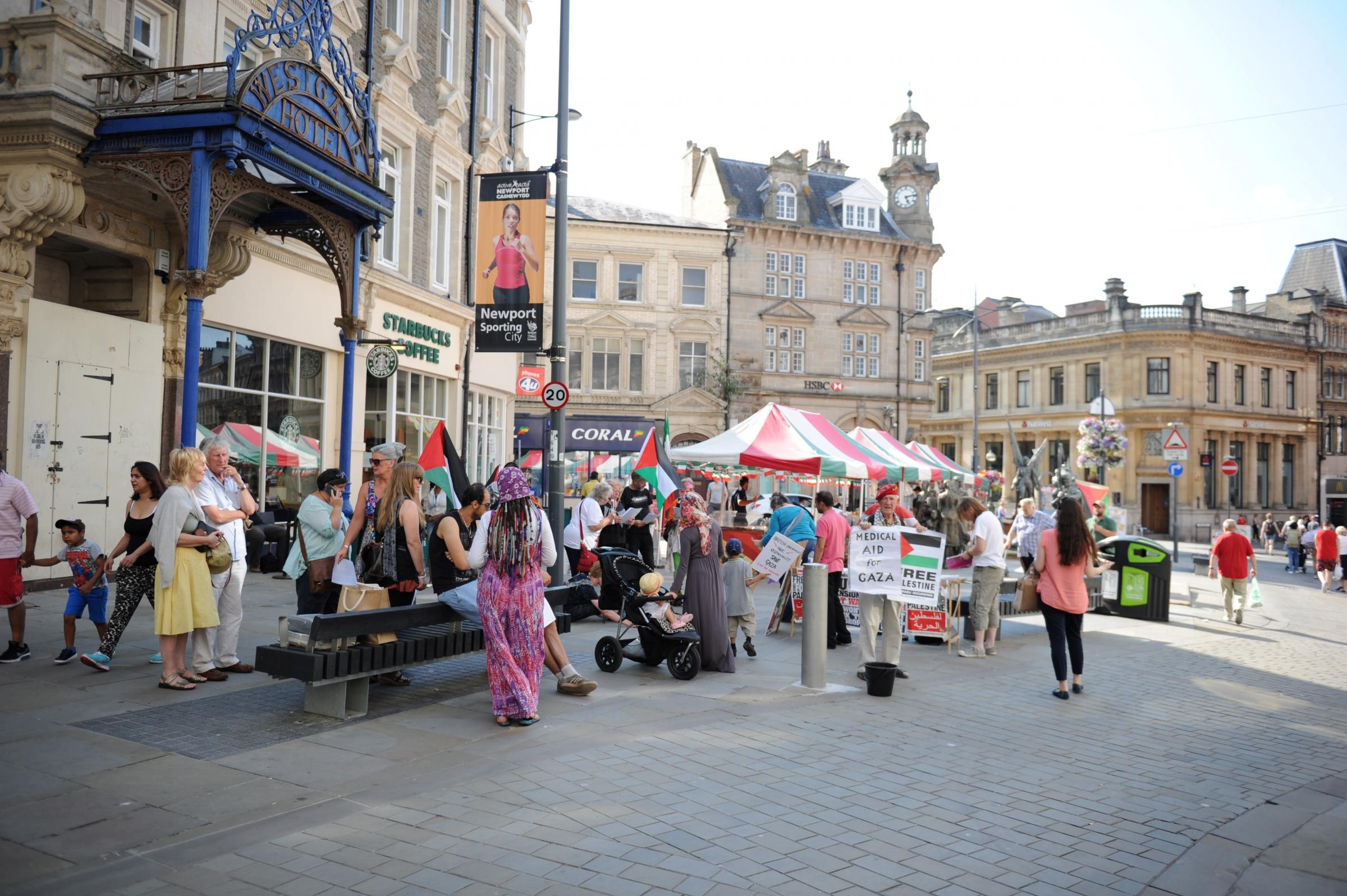 Protesters hold Newport vigil for Gaza