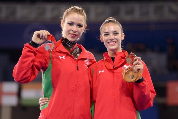 MEDALS: Frankie Jones, left, won silver yesterday and Laura Halford bronze