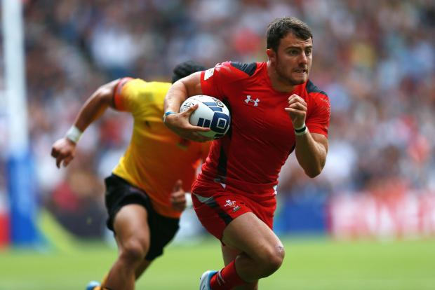 DEFEAT: Wales' Luke Morgan in action in the rugby sevens at Ibrox