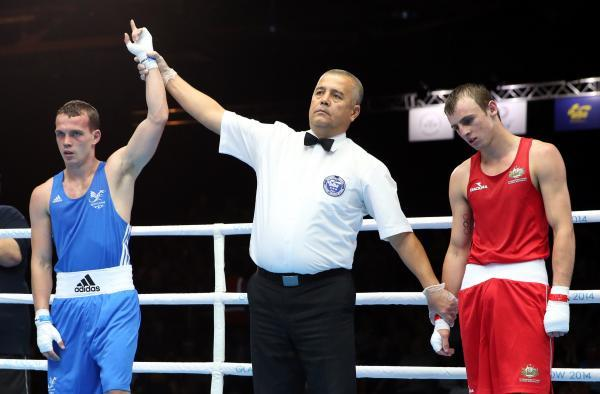 VICTORY: St Joseph's boxer Sean McGoldrick, left, won his first bout in Glasgow