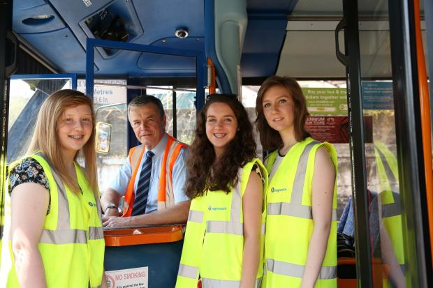 Stagecoach in South Wales' new Directors of Teenage Communication take a ride with managing director, John Gould.