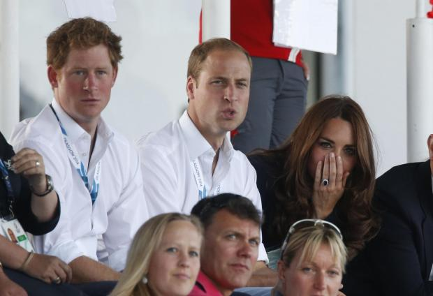 ROYALTY: Prince Harry and the Duke and Duchess of Cambridge at the Wales v Scotland hockey match