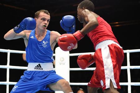 GOING FOR GOLD: Newport's Sean McGoldrick in action against South Africa's Ayabonga Sonjica