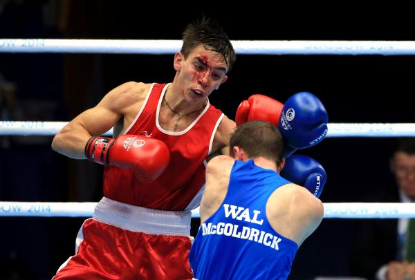 HEADING FOR DEFEAT: Sean McGoldrick lost after an accidental clash of heads against Michael Conlan