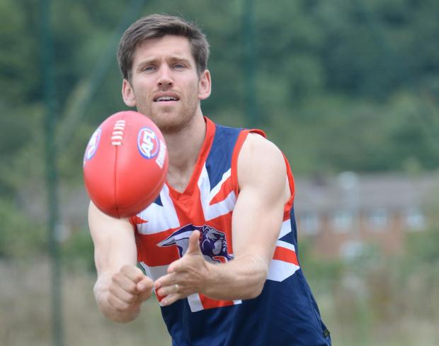 County academy physio David Saunders, from Cwmbran, is in the GB squad to play in the Aussie Rules International Cup. Pictured is David practising at Llanwern High School. (8850592)