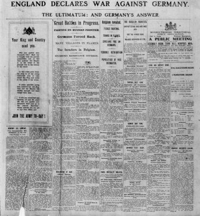 WWI ARGUS ARCHIVE:  The die is cast - Britain declares war