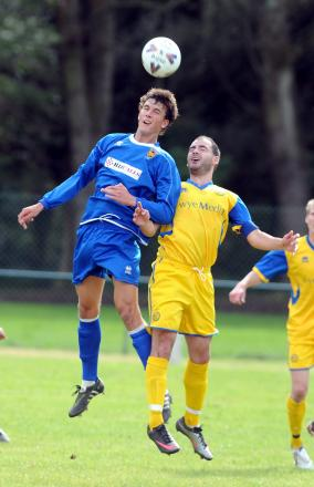 POTENTIAL: Striker Christian Doidge, left, playing for Croesyceiliog